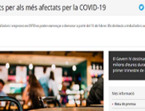 S'ACTIVA EL NOU PLA D'AJUTS PER ALS MÉS AFECTATS PER LA COVID-19